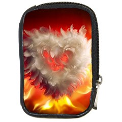 Arts Fire Valentines Day Heart Love Flames Heart Compact Camera Cases by Nexatart