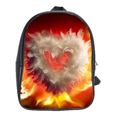 Arts Fire Valentines Day Heart Love Flames Heart School Bags (xl)  by Nexatart