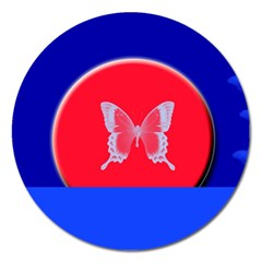 Blue Background Butterflies Frame Magnet 5  (round) by Nexatart