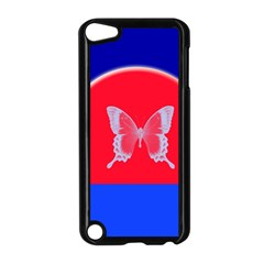Blue Background Butterflies Frame Apple Ipod Touch 5 Case (black) by Nexatart
