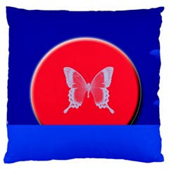 Blue Background Butterflies Frame Standard Flano Cushion Case (two Sides) by Nexatart