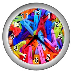 Clothespins Colorful Laundry Jam Pattern Wall Clocks (silver)  by Nexatart