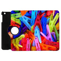 Clothespins Colorful Laundry Jam Pattern Apple Ipad Mini Flip 360 Case by Nexatart