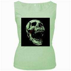 Death Skull Women s Green Tank Top