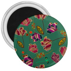 Flowers Pattern 3  Magnets by Nexatart