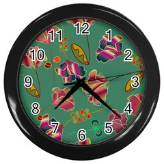 Flowers Pattern Wall Clocks (black) by Nexatart
