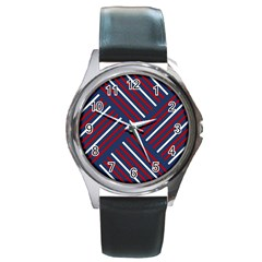 Geometric Background Stripes Red White Round Metal Watch by Nexatart