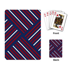Geometric Background Stripes Red White Playing Card