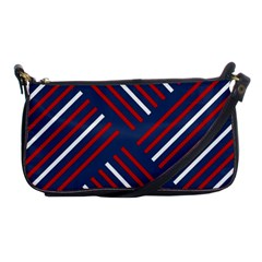 Geometric Background Stripes Red White Shoulder Clutch Bags