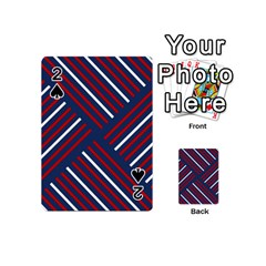 Geometric Background Stripes Red White Playing Cards 54 (mini)  by Nexatart