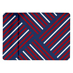 Geometric Background Stripes Red White Samsung Galaxy Tab 10 1  P7500 Flip Case by Nexatart