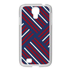 Geometric Background Stripes Red White Samsung Galaxy S4 I9500/ I9505 Case (white)