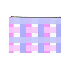 Gingham Checkered Texture Pattern Cosmetic Bag (large)  by Nexatart
