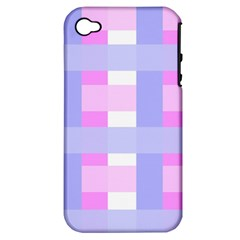 Gingham Checkered Texture Pattern Apple Iphone 4/4s Hardshell Case (pc+silicone)