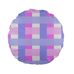 Gingham Checkered Texture Pattern Standard 15  Premium Round Cushions