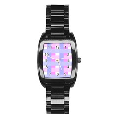 Gingham Checkered Texture Pattern Stainless Steel Barrel Watch