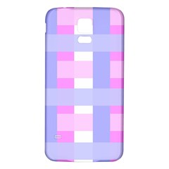 Gingham Checkered Texture Pattern Samsung Galaxy S5 Back Case (white)