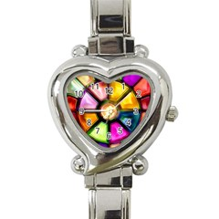 Glass Colorful Stained Glass Heart Italian Charm Watch