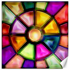 Glass Colorful Stained Glass Canvas 16  X 16