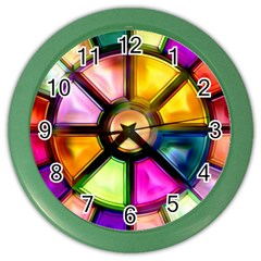 Glass Colorful Stained Glass Color Wall Clocks by Nexatart