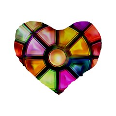 Glass Colorful Stained Glass Standard 16  Premium Heart Shape Cushions
