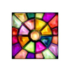 Glass Colorful Stained Glass Satin Bandana Scarf by Nexatart
