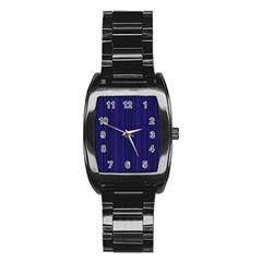 Deep Blue Lines Stainless Steel Barrel Watch by Valentinaart