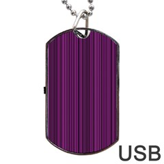 Deep Purple Lines Dog Tag Usb Flash (one Side) by Valentinaart