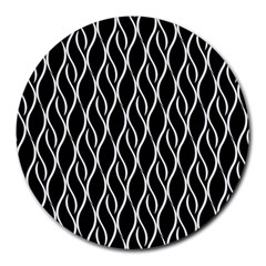 Elegant Black And White Pattern Round Mousepads by Valentinaart