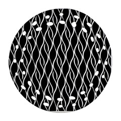 Elegant Black And White Pattern Round Filigree Ornament (two Sides) by Valentinaart