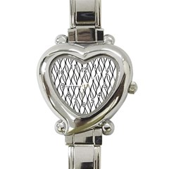 Black And White Elegant Pattern Heart Italian Charm Watch by Valentinaart