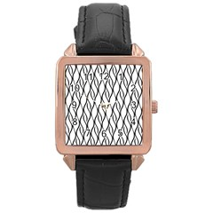 Black And White Elegant Pattern Rose Gold Leather Watch