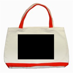 Black Pattern Classic Tote Bag (red) by Valentinaart
