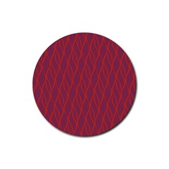Red Pattern Rubber Coaster (round)  by Valentinaart