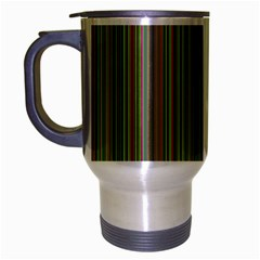Green Lines Travel Mug (silver Gray) by Valentinaart