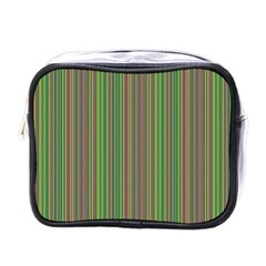 Green Lines Mini Toiletries Bags by Valentinaart