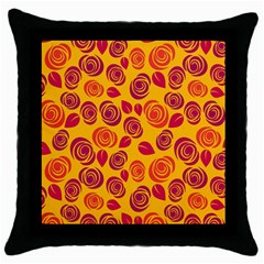 Orange Roses Throw Pillow Case (black) by Valentinaart