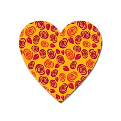 Orange Roses Heart Magnet by Valentinaart