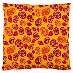 Orange Roses Large Flano Cushion Case (one Side) by Valentinaart