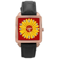 Flag Of Myanmar Army Eastern Command Rose Gold Leather Watch  by abbeyz71
