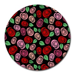 Red And Pink Roses Round Mousepads by Valentinaart