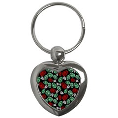 Decorative Floral Pattern Key Chains (heart)  by Valentinaart