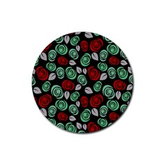 Decorative Floral Pattern Rubber Round Coaster (4 Pack)  by Valentinaart