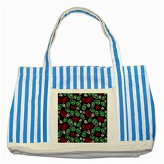 Decorative Floral Pattern Striped Blue Tote Bag