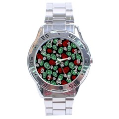 Decorative Floral Pattern Stainless Steel Analogue Watch by Valentinaart