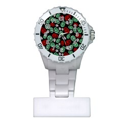 Decorative Floral Pattern Plastic Nurses Watch by Valentinaart