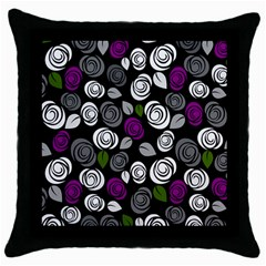 Purple Roses Pattern Throw Pillow Case (black) by Valentinaart