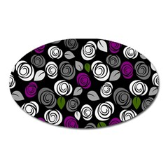 Purple Roses Pattern Oval Magnet by Valentinaart