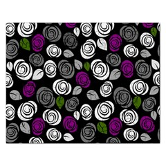 Purple Roses Pattern Rectangular Jigsaw Puzzl by Valentinaart