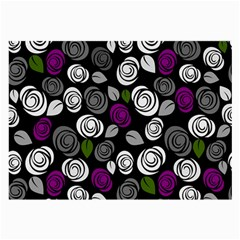 Purple Roses Pattern Large Glasses Cloth (2 Side)